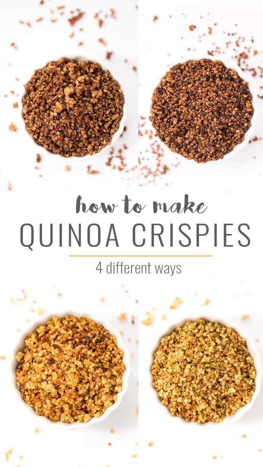 Loving these 4 DELICIOUS ways to make Quinoa Crispies -- in chocolate, cinnamon sugar, sriracha lime and italian herb!
