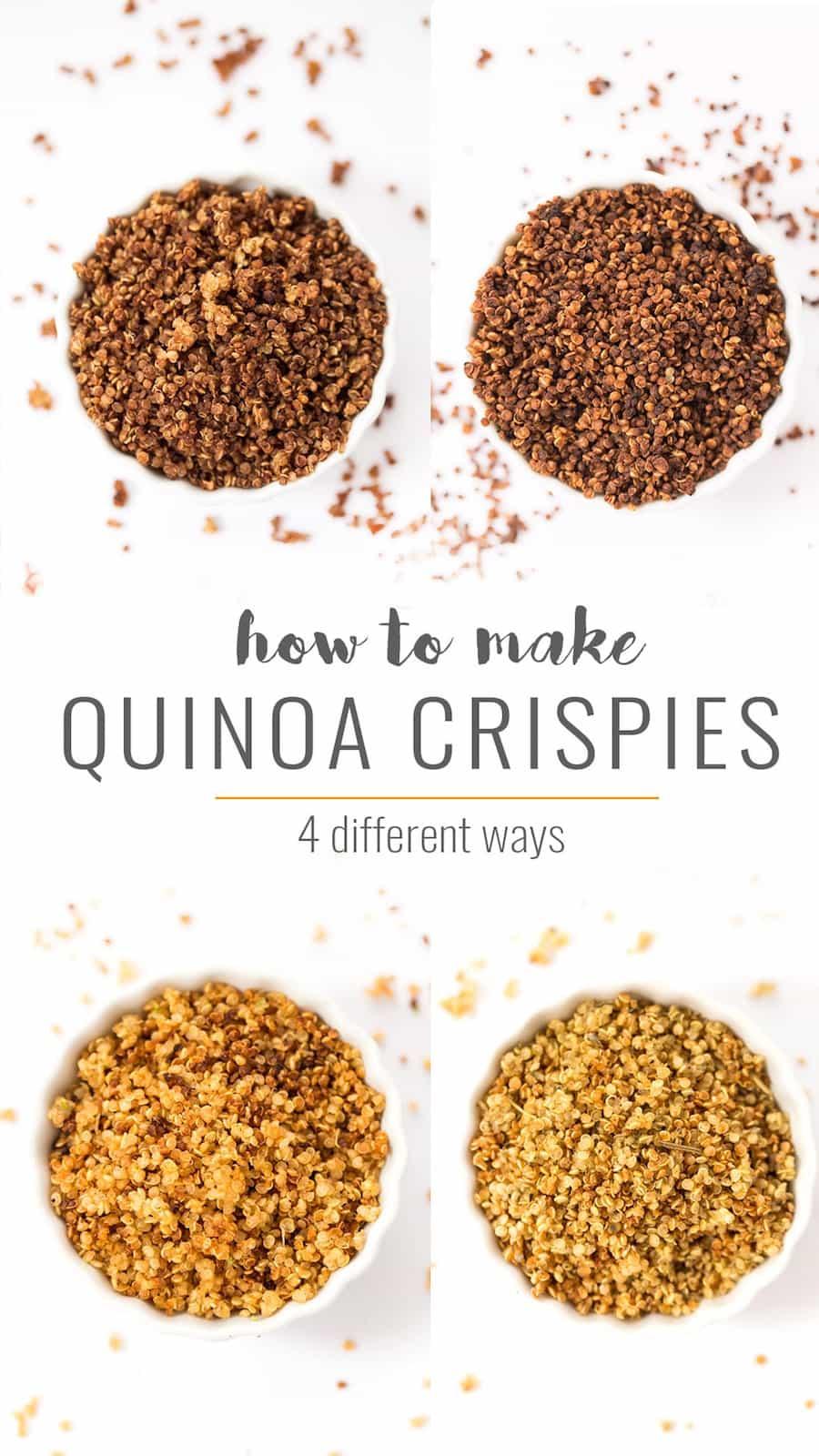 Loving these 4 DELICIOUS ways to make Quinoa Crispies -- in chocolate, cinnamon sugar, sriracha lime and italian herb!