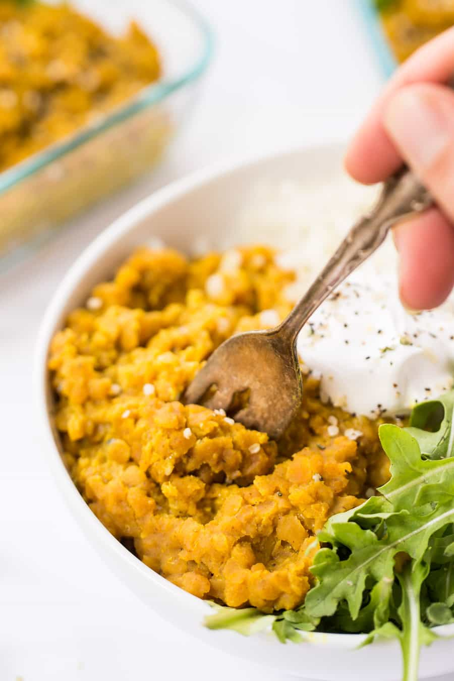 This vegan RED LENTIL DAL is made with just 9 ingredients, in one pot and under 15 minutes!