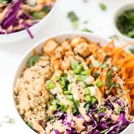 Asian Quinoa Bowls with Peanut Baked Tofu