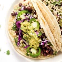 Cilantro Lime Black Bean Quinoa Tacos