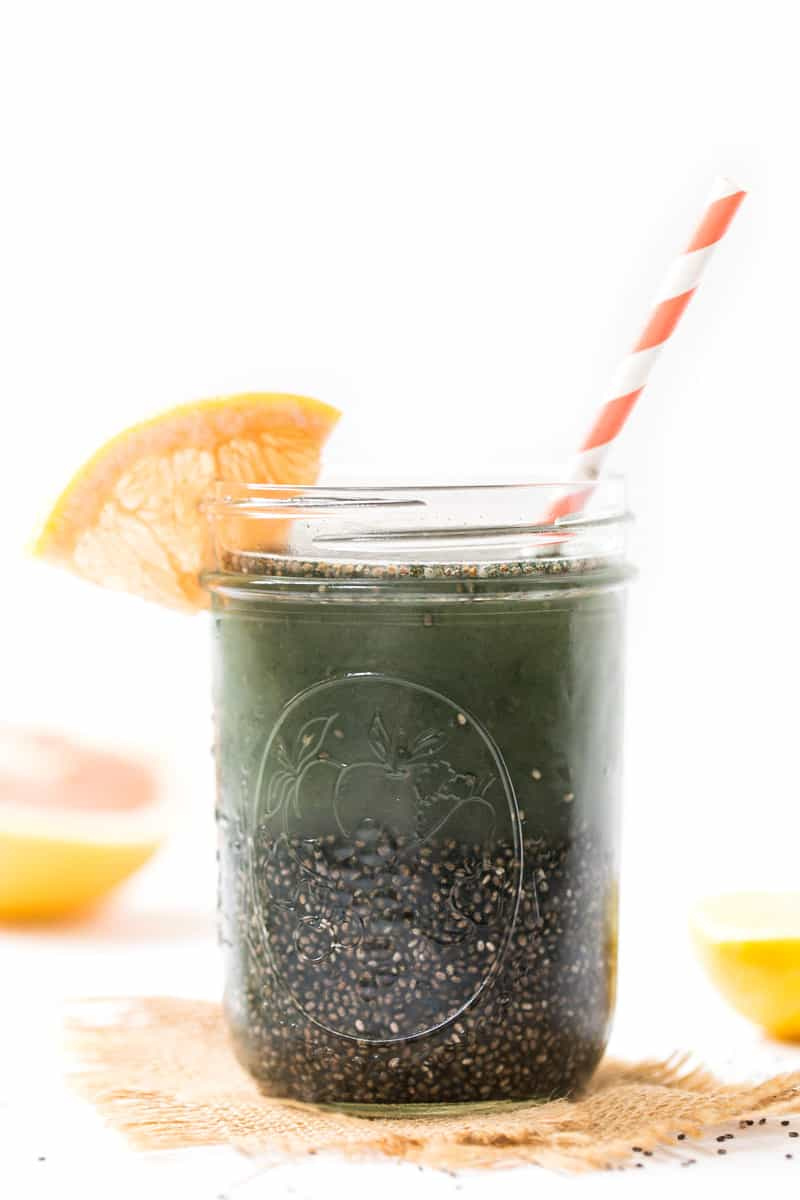 DETOX CHIA FRESCA -- with grapefruit, lemon and spirulina to help flush toxins and hydrate your system!