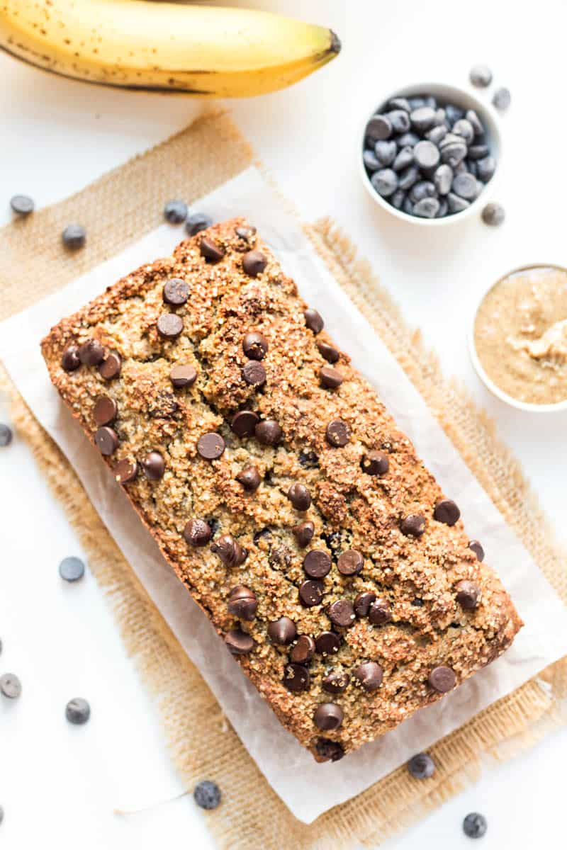 This is the most INSANELY DELICIOUS Chocolate Chip Banana Bread and it's made with 100% healthy ingredients -- almond flour, quinoa flour, flax and more!