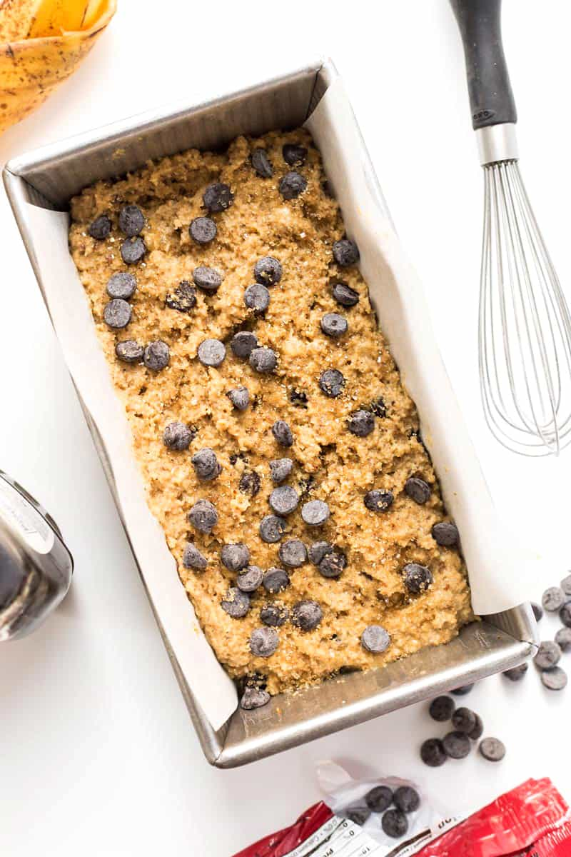 How to make the most INSANE Almond Flour Chocolate Chip Banana Bread! [gluten-free]