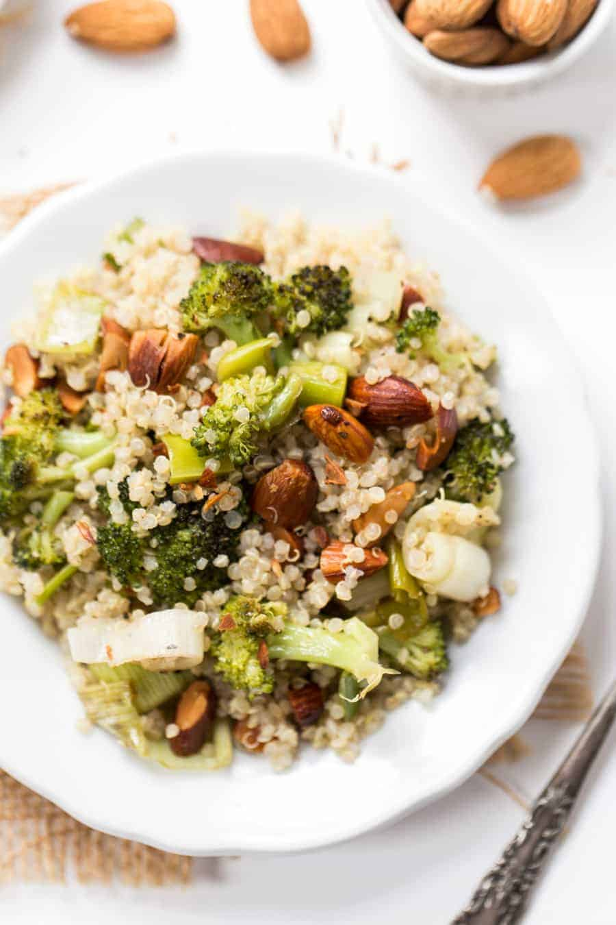roasted leek & broccoli quinoa salad