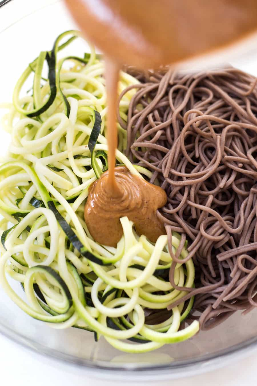 Almond-Sesame Soba Zoodles with quick pickled veggies and the creamiest almond butter sauce ever!