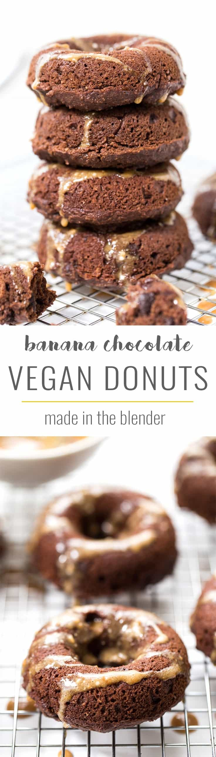 Vegan Banana Chocolate Donuts made in the BLENDER! packed with healthy ingredients, ready in just 15 minutes and seriously delicious! [vegan]