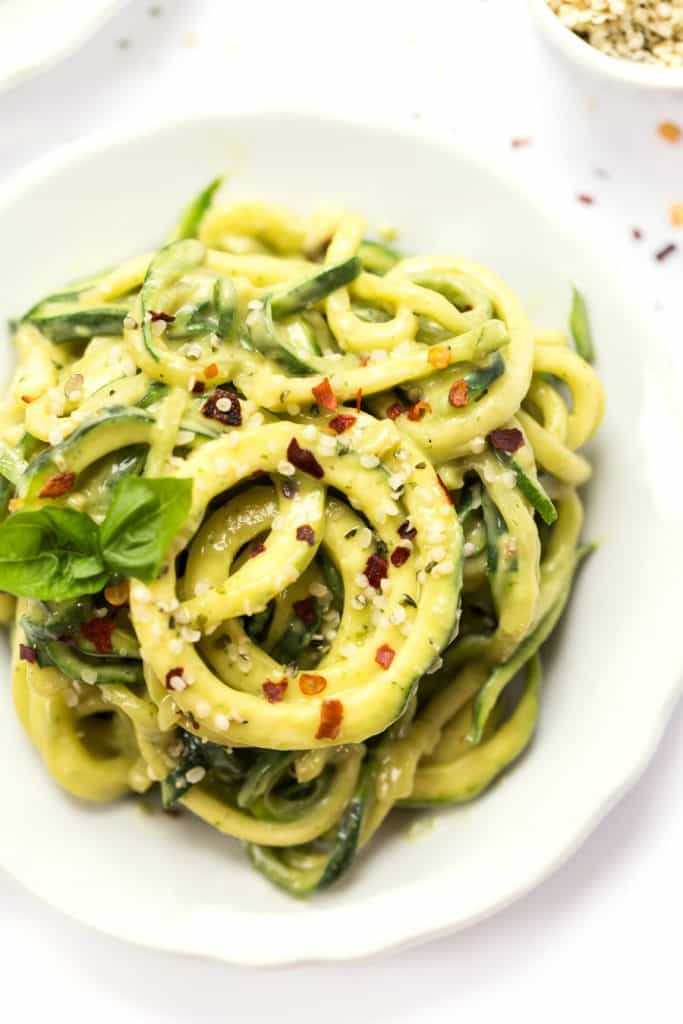 Avocado Alfredo Sauce with Zucchini Noodles