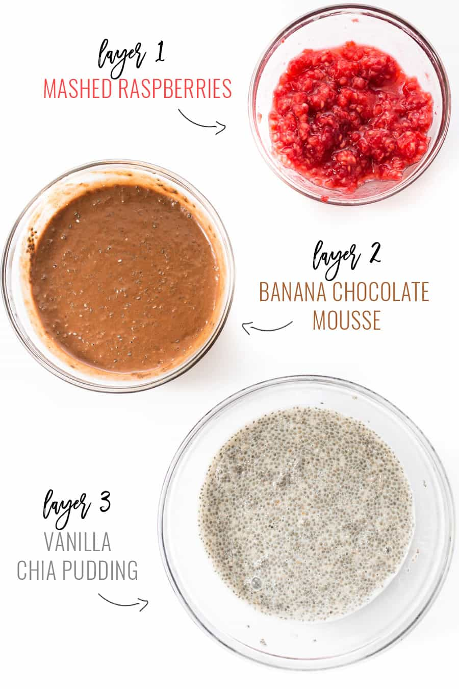 This AMAZING Layered Chia Parfaits have chocolate, chia pudding and a raspberry topping!