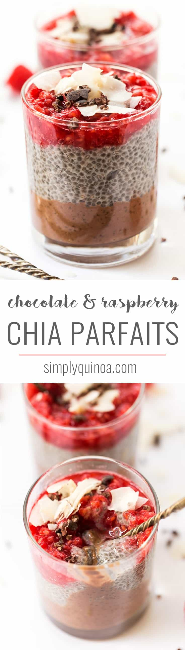 These HEALTHY chia parfaits start with a layer of banana chocolate mousse, then a layer of chia pudding and finished off with smashed raspberries on top!