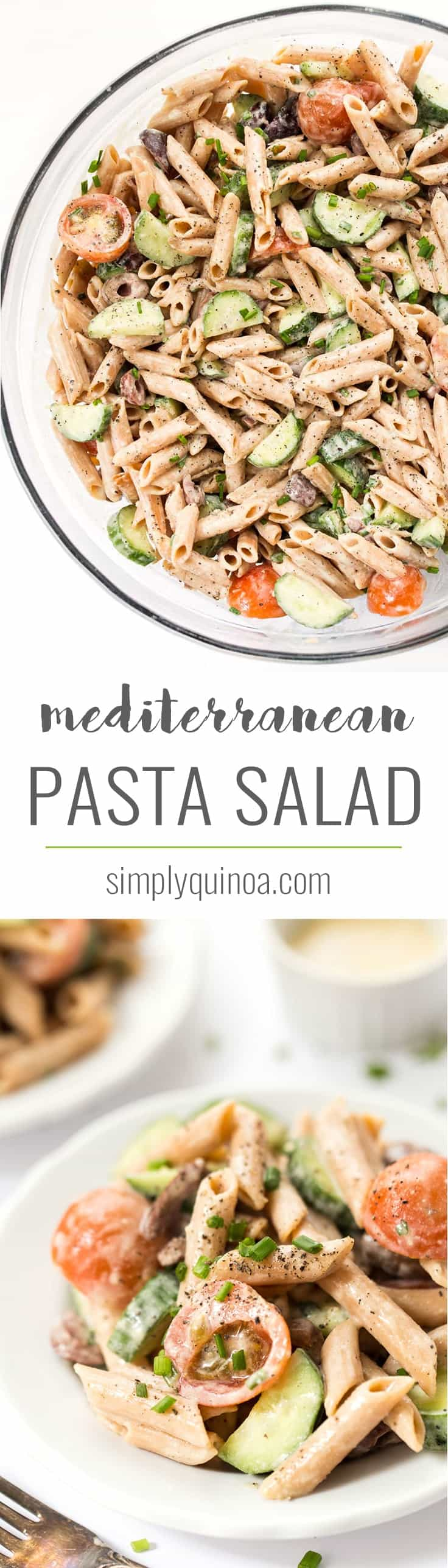 This rich and creamy Mediterranean Pasta Salad is made with a delicious, tangy dressing and is packed with veggies! It's vegan, gluten-free & high-protein!