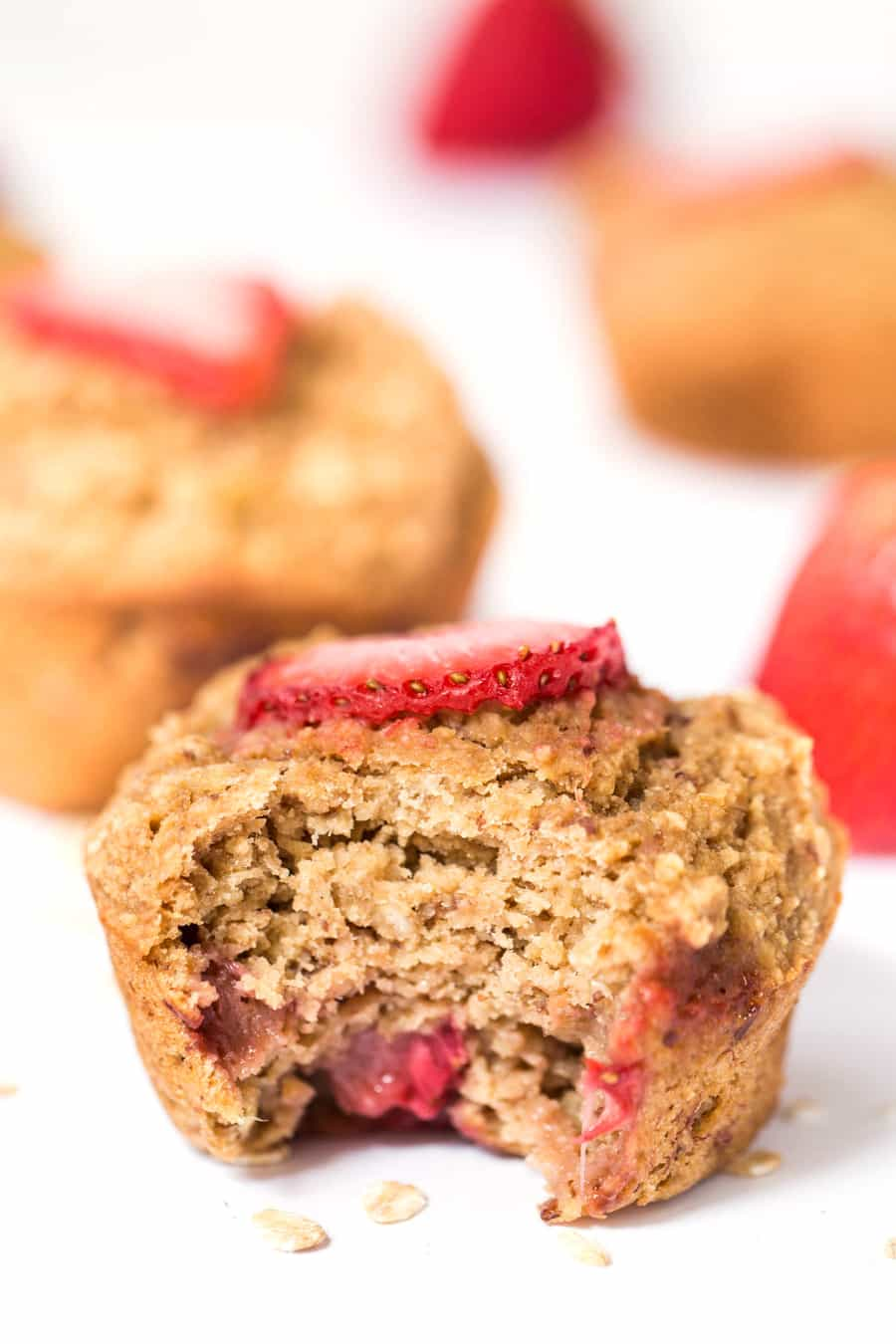 These SKINNY Strawberry Banana Oatmeal Muffins are made with out any refined sugar, eggs, oil OR dairy!