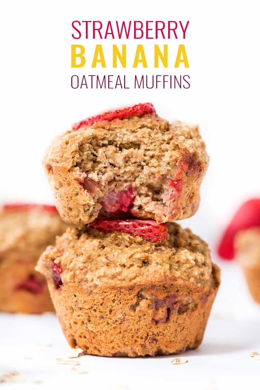 STRAWBERRY BANANA OATMEAL MUFFINS -- made with oat flour, almond flour and sweetened naturally with bananas and coconut sugar! [oil-free, gluten-free, dairy-free, vegan]