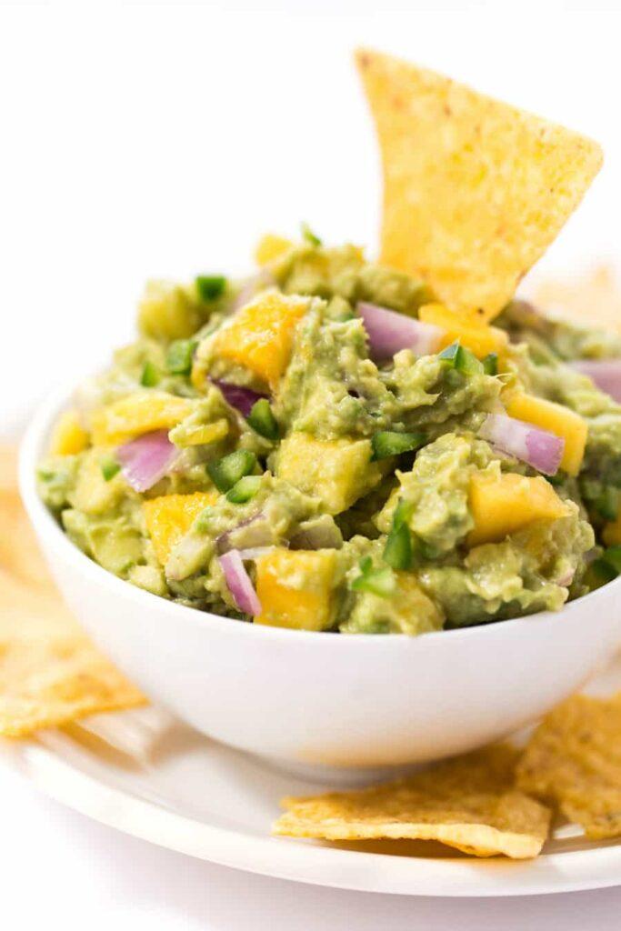 spicy mango guacamole with tortilla chips