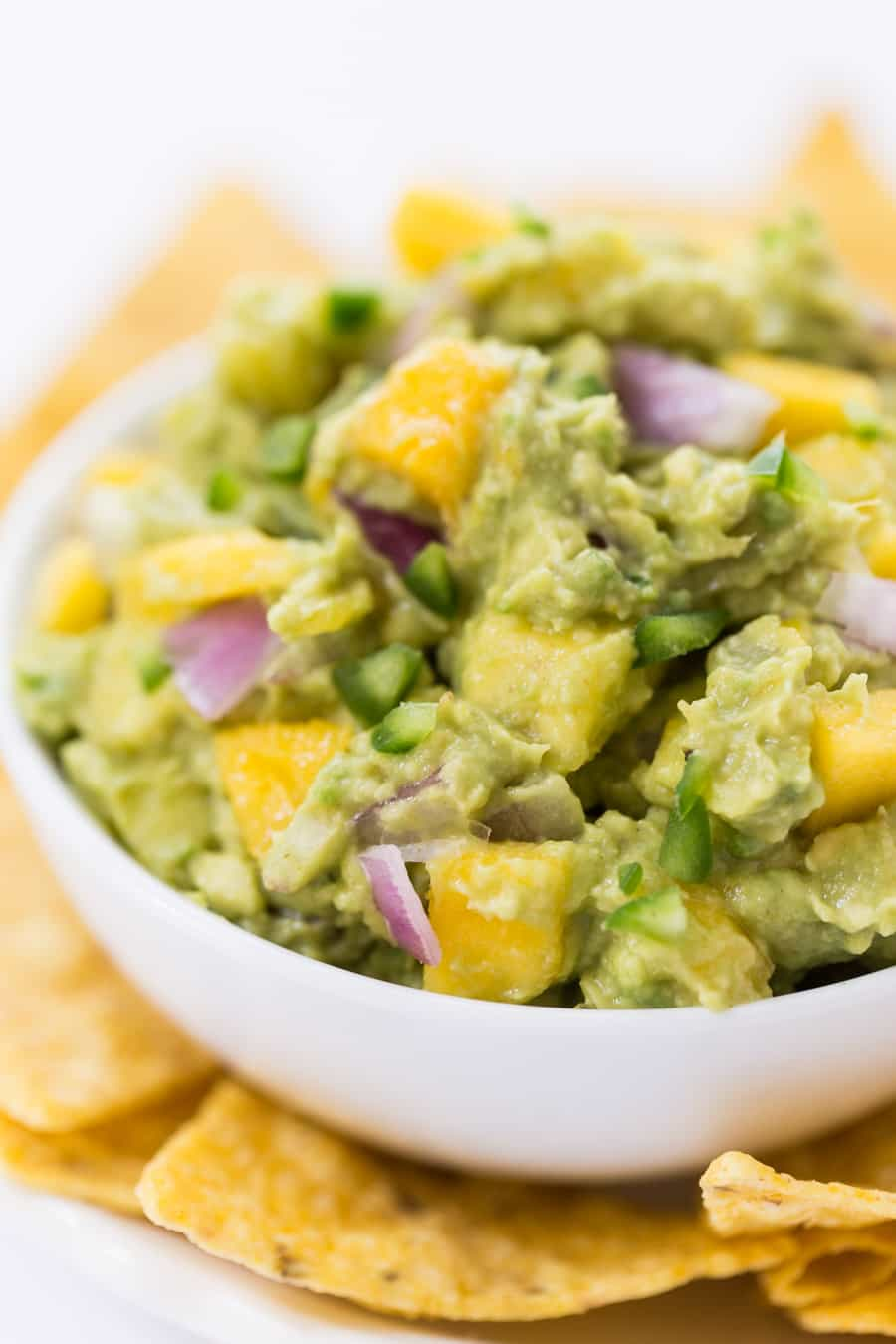 This SPICY MANGO GUACAMOLE recipe is a quick and easy spread that goes with everything. Use it on top of burgers, dip with chips or spread it on some toast!