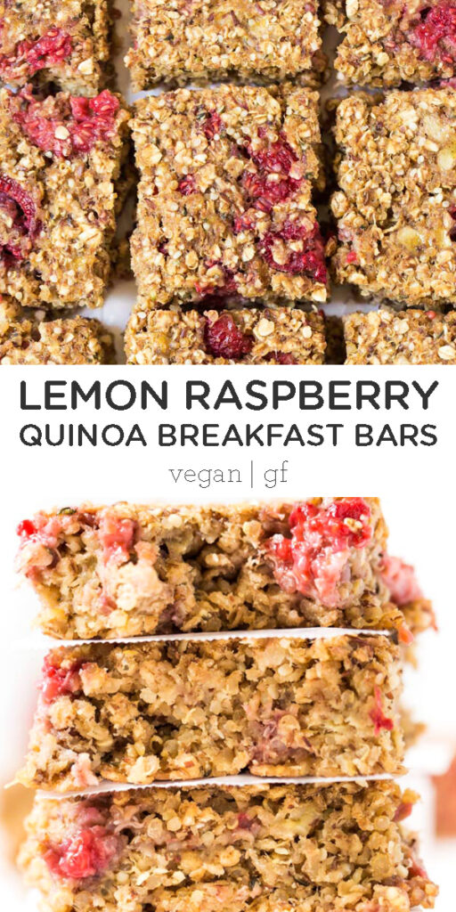 Lemon Raspberry Quinoa Breakfast Bars