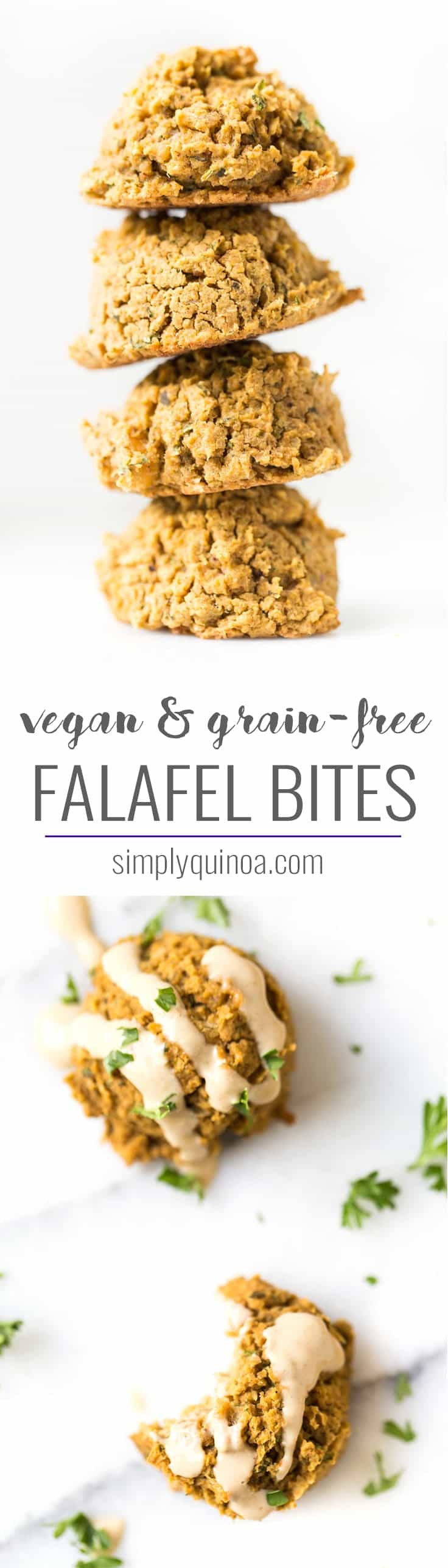 Try these insanely DELICIOUS Grain-Free Falafel Bites! They're perfect on top of salads, as a protein for buddha bowls or served as a healthy appetizer!