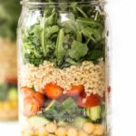 MASON JAR SALADS with lemon-mustard dressing, chickpeas, veggies and QUINOA!
