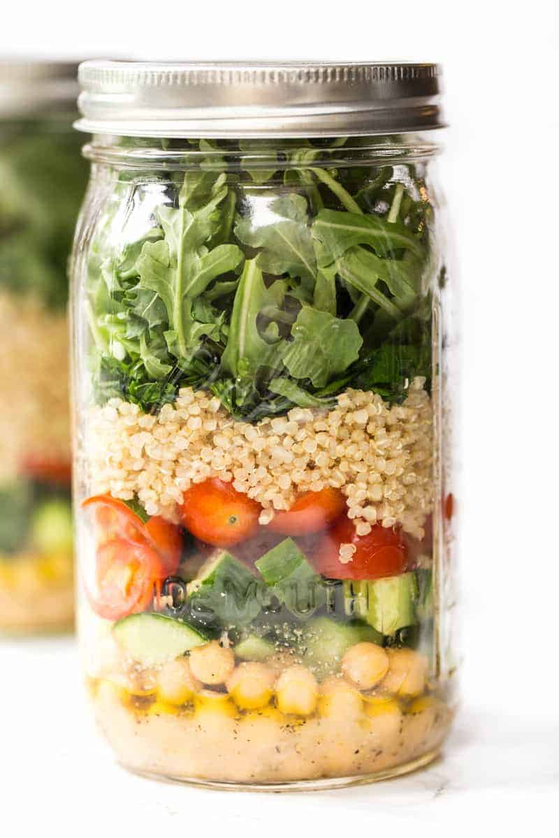 A mason jar salad in a mason jar.