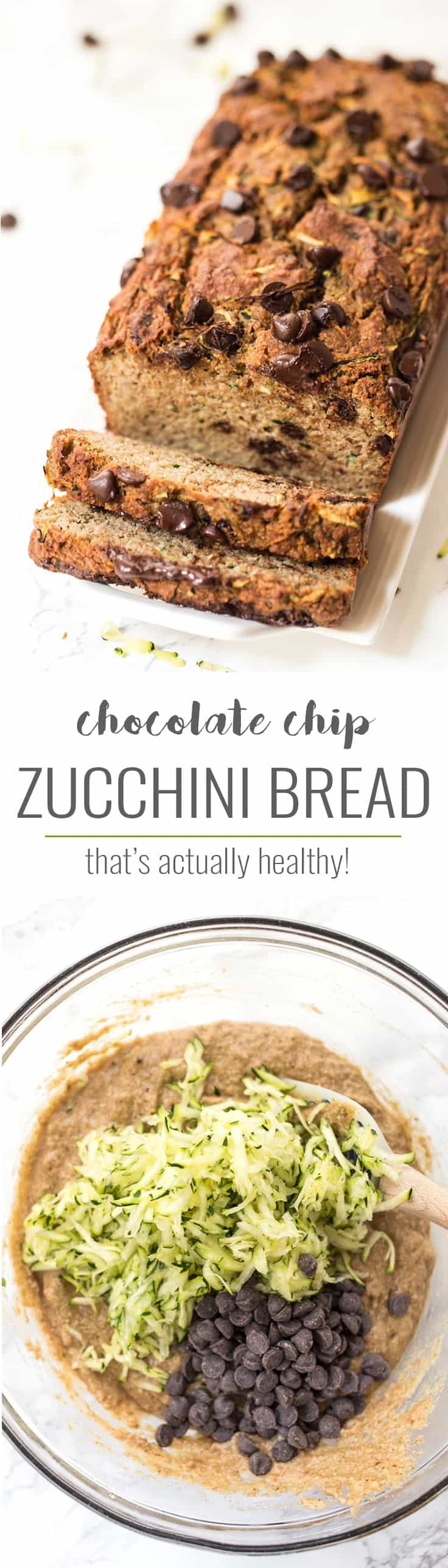This HEALTHY Chocolate Chip Zucchini Bread recipe makes for an epic breakfast or snack! High in protein, healthy fats, complex carbs and minimally sweetened!