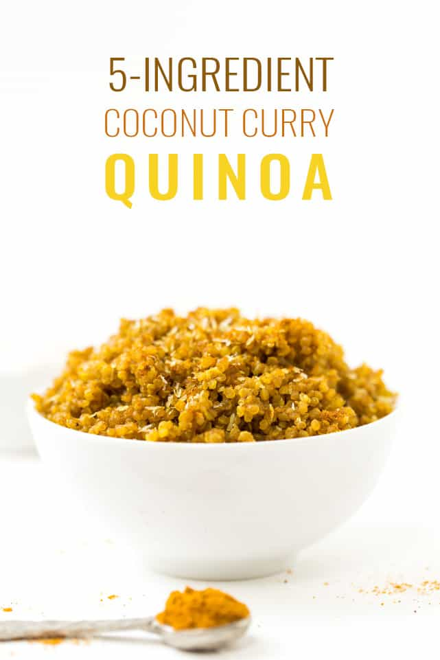 This 5-INGREDIENT Coconut Curry Quinoa goes well with all your FAVE Indian dishes! {vegan + gluten-free}