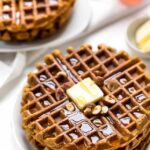 These HEALTHY Omega-3 Sweet Potato Waffles are the perfect weekend breakfast! They're light, fluffy, flavorful and also gluten-free!