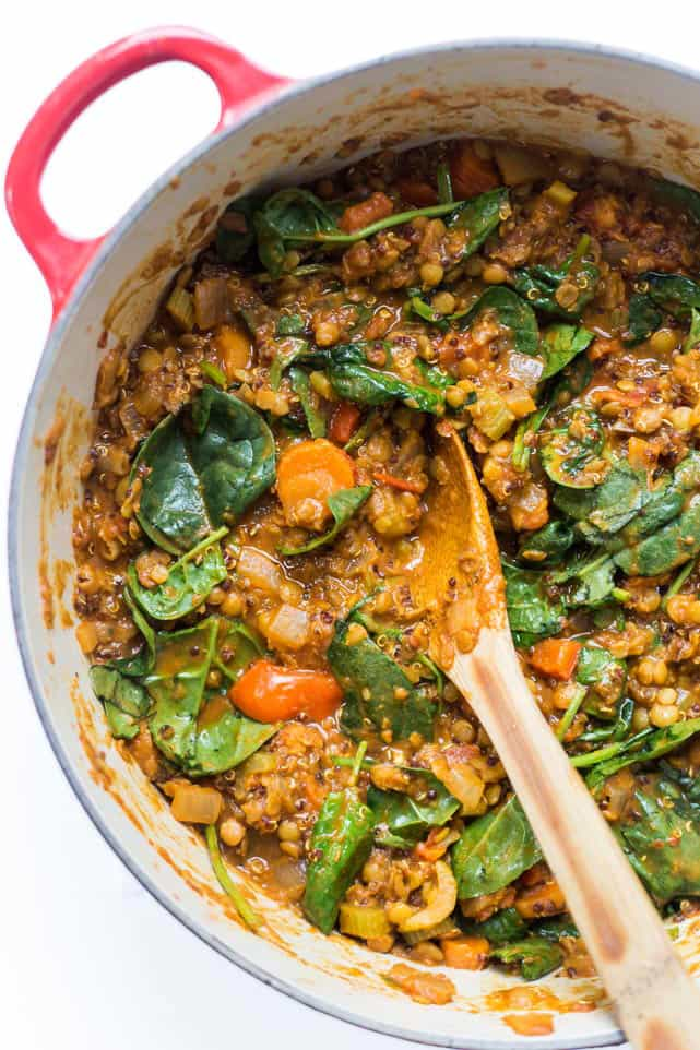 These ONE POT Moroccan Lentils + Quinoa are a high-protein, absolutely DELICIOUS, plant-based meal the whole family will love!