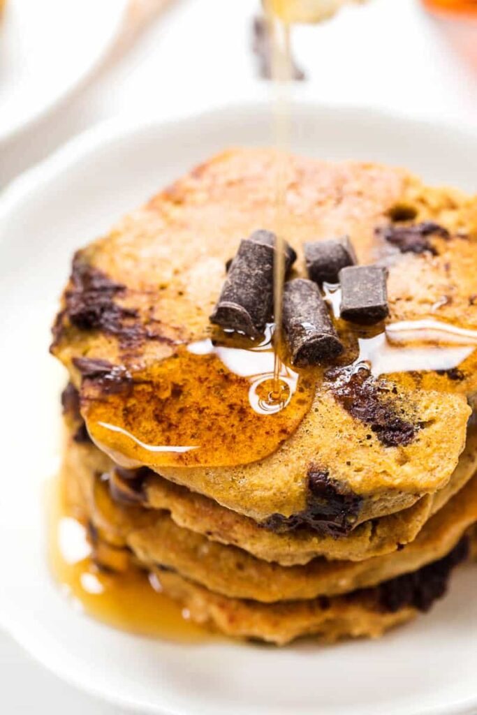 You'd never guess these Pumpkin Chocolate Chip Pancakes are actually HEALTHY & VEGAN!!