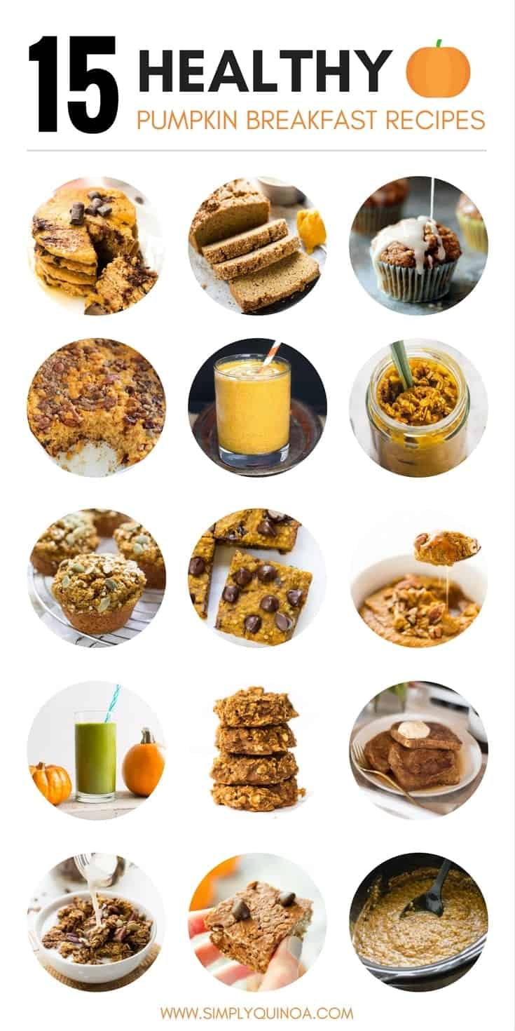 15 of THE BEST Healthy Pumpkin Breakfast Recipes...including oatmeal, pancakes, smoothies and more!
