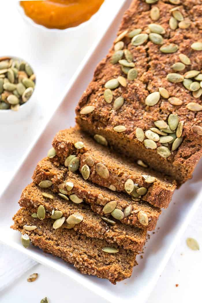 This AMAZING Vegan Pumpkin Bread recipe is healthy, gluten-free and made with ZERO refined sugar!