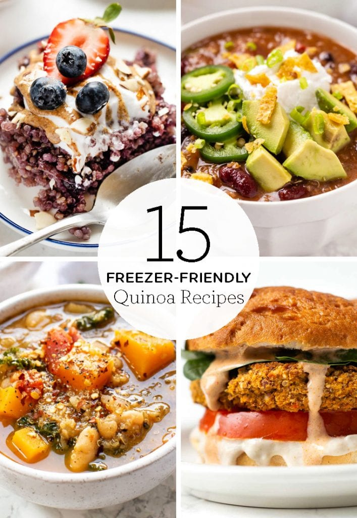 Here are 15 freezer-friendly quinoa recipes! We've got easy homemade soups, chilis, stews, casseroles, from-scratch burgers and more healthy dinner and breakfast ideas that are great for meal prep or re-heating when you're in a pinch!