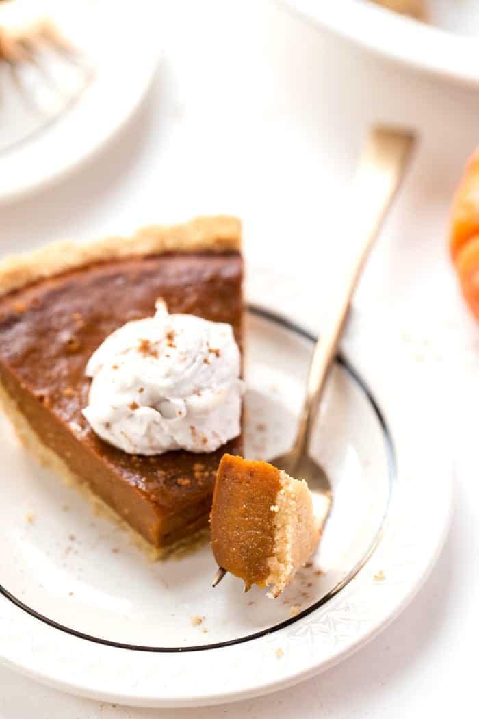 PERFECT Vegan Pumpkin Pie served in a flakey, grain-free almond flour crust!