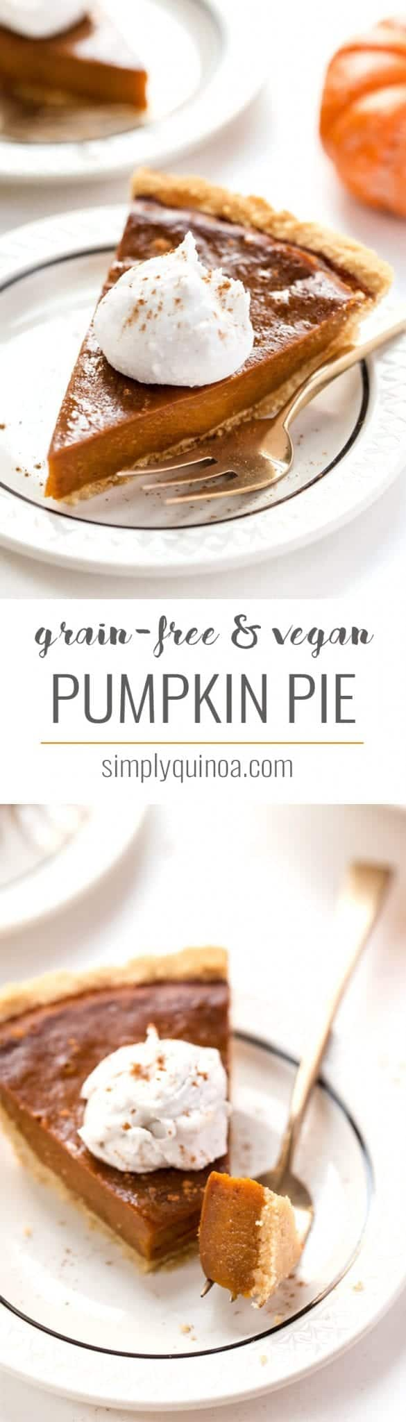 Grain-Free & Vegan Pumpkin Pie 😍 made entirely in the food processor, with an almond flour pie crust and topped with coconut whip!