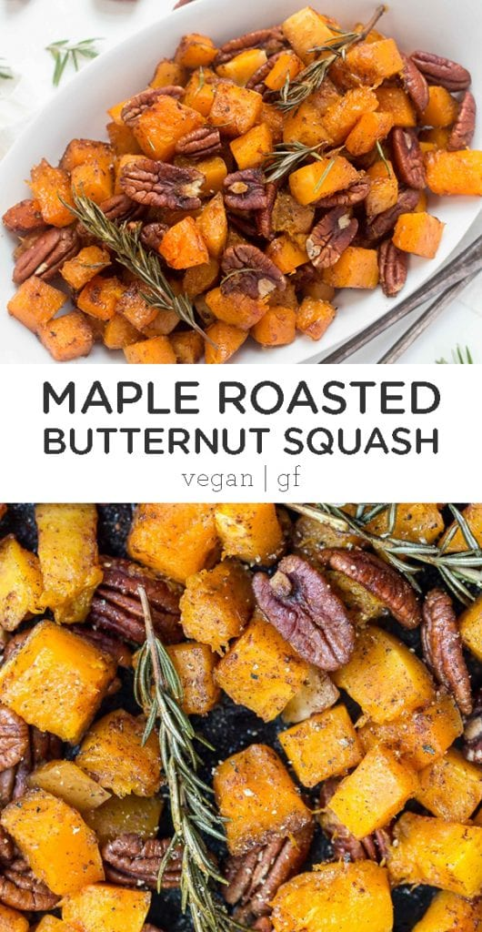 This Maple Roasted Butternut Squash with Pecans is the perfect holiday side dish! Uses just 7 ingredients, requires only one bowl and 40 minutes to make! Easy healthy idea for Thanksgiving that is vegan and gluten-free. Your families will love this recipe!