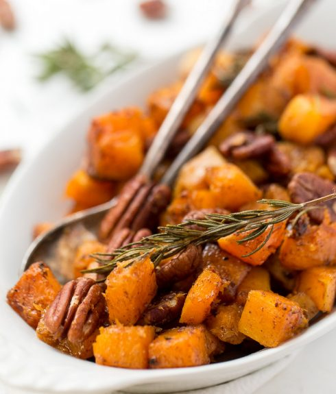 Maple Roasted Butternut Squash with Pecans
