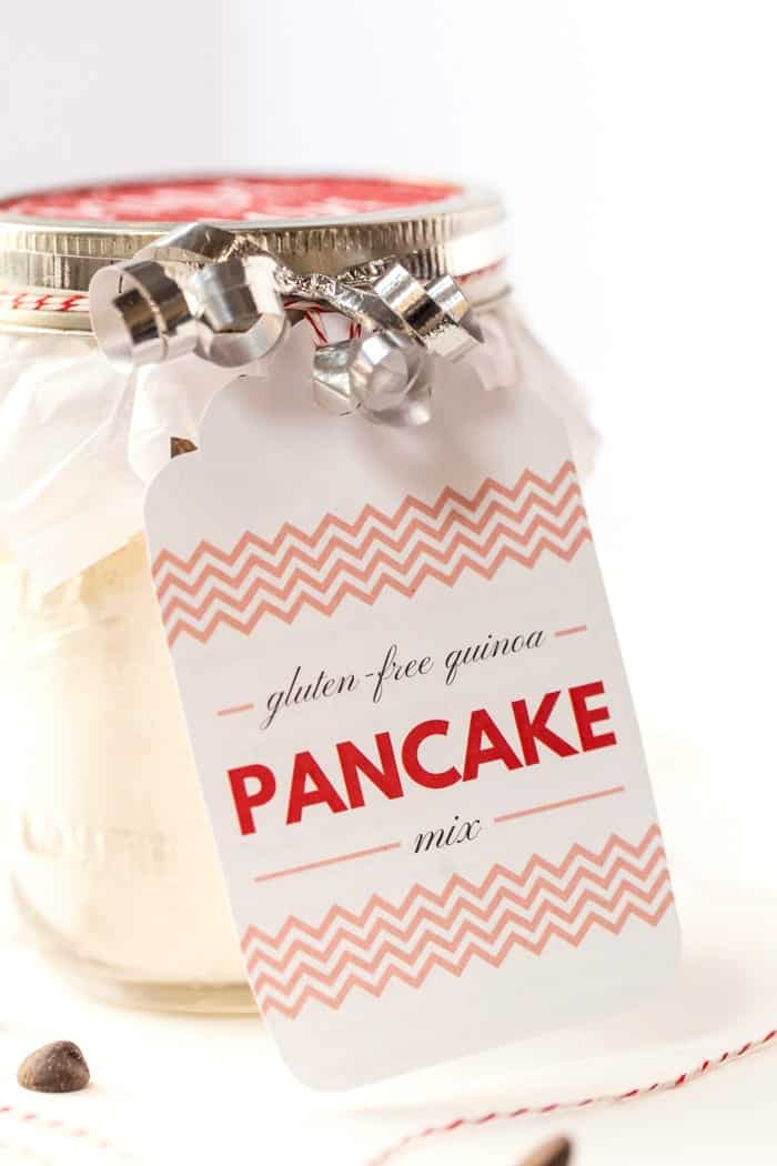 DIY GLUTEN-FREE Pancake Mix makes the perfect gift for the holidays! One jar makes 1 batch of pancakes!