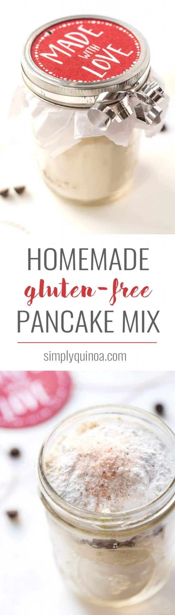 how to make HOMEMADE Gluten-Free Pancake Mix! Makes for a perfect holiday gift and one jar = one batch of pancakes!