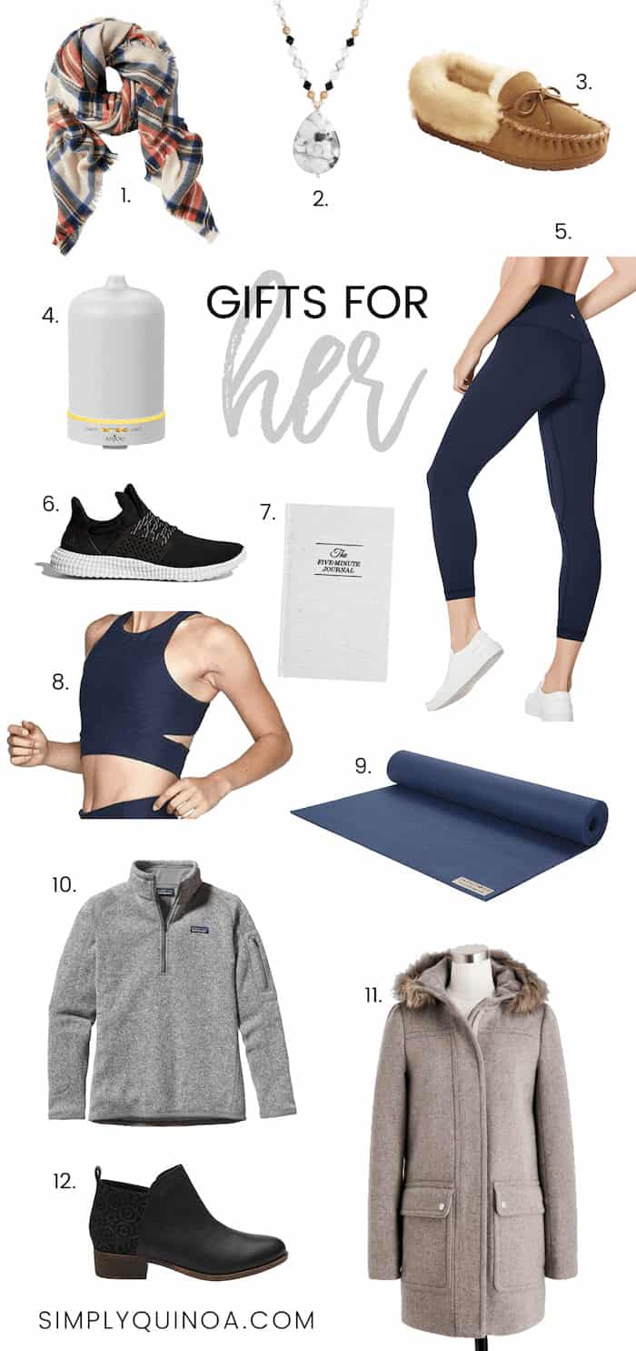 Holiday Gift Guide for Her -- everything from yoga clothes, jackets, homeware and more!