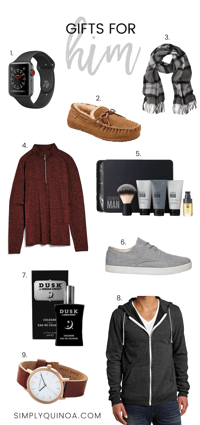 Holiday Gift Guide for Him -- everything from nice clothing, accessories, non-toxic skincare and vegan shoes!