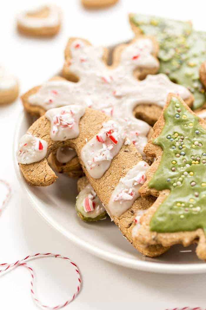 Gluten-Free & Vegan Sugar Cookies topped with a matcha icing! Perfect for the Christmas Holidays!!