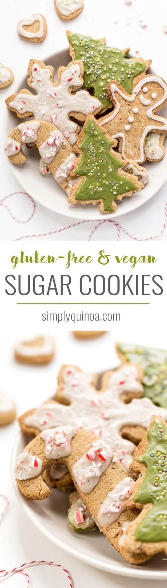 These GLUTEN-FREE & VEGAN Sugar Cookies are perfect for the holidays. Easy to make, healthy, nut-free and topped with a naturally colored green icing!