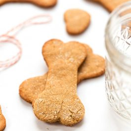 These homemade Grain-Free Peanut Butter Dog Treats are quick, easy and make a great holiday gift. They're high protein, use just 6 ingredients and dog-approved!
