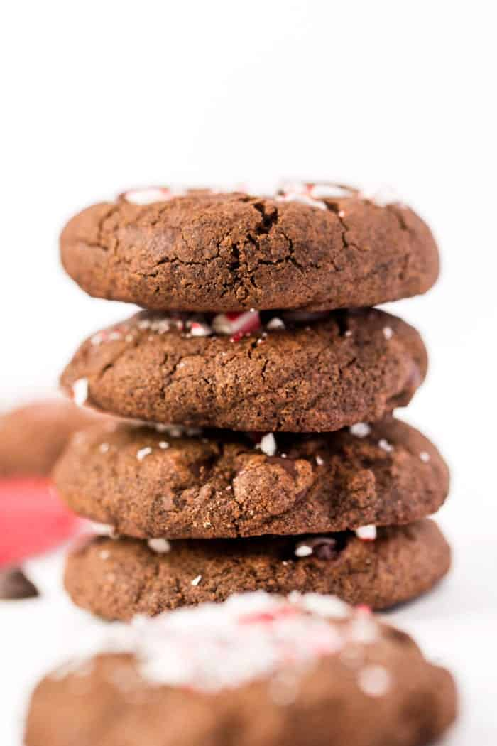 These HEALTHY Dark Chocolate Peppermint Cookies are made with a whole-grain base and coconut oil instead of butter!