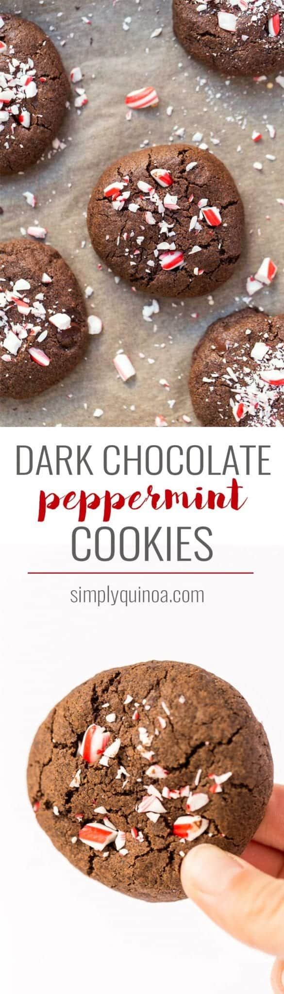 These HEALTHY dark chocolate peppermint cookies are a whole-grain cookie perfect for the holidays! All made WITHOUT gluten, dairy, eggs or refined sugar!