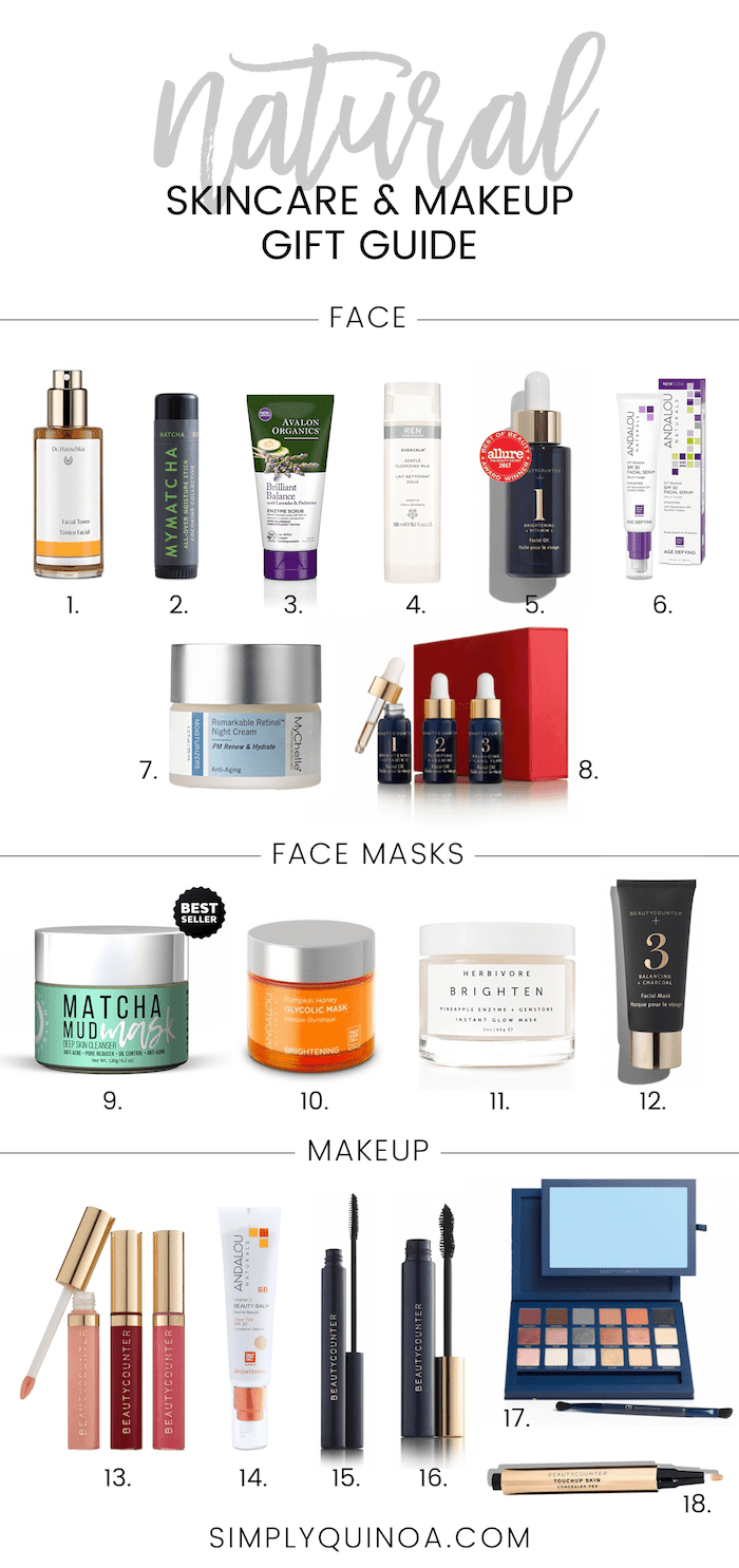 Natural Skincare & Makeup GIFT GUIDE! Everything from everyday facial products to face masks and even makeup!