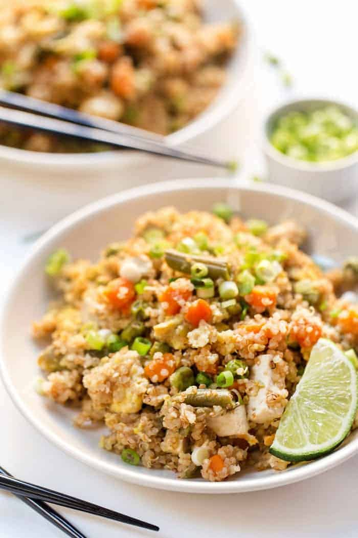 pressure cooker fried quinoa with tofu and eggs