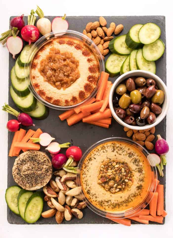 the perfect vegan snack board with hummus