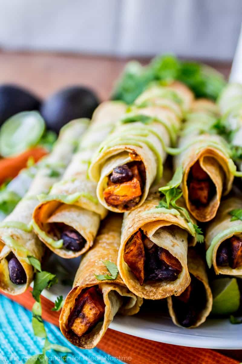 vegan mexican black bean taquitos with sweet potatoes