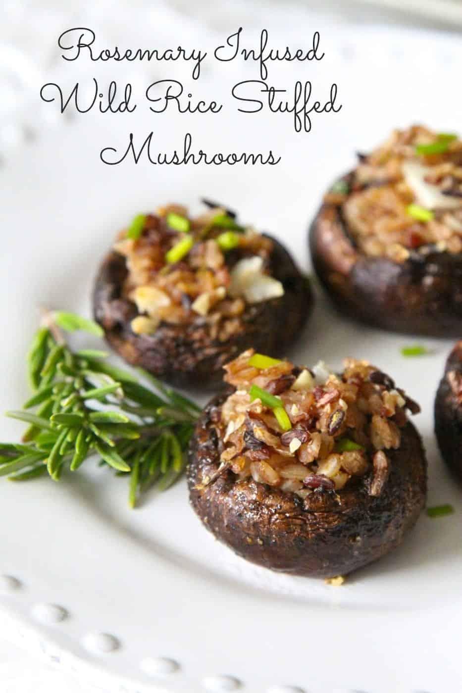 vegan stuffed mushrooms with wild rice