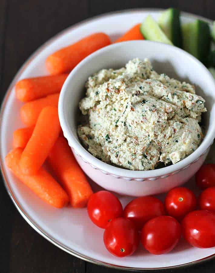vegan garlic and herb almond cheese spread